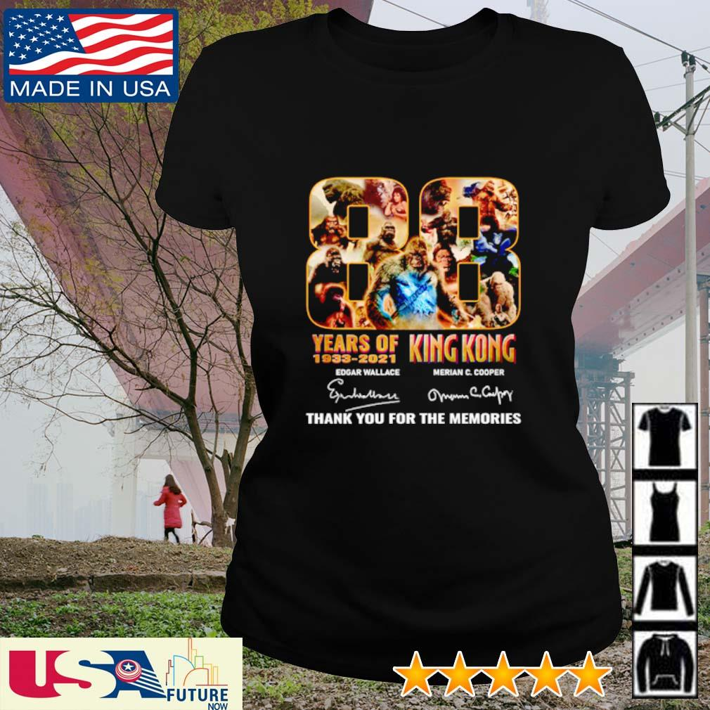 88 Years of 1933 - 2021 King Kong thank you for the memories signatures s ladies-tee
