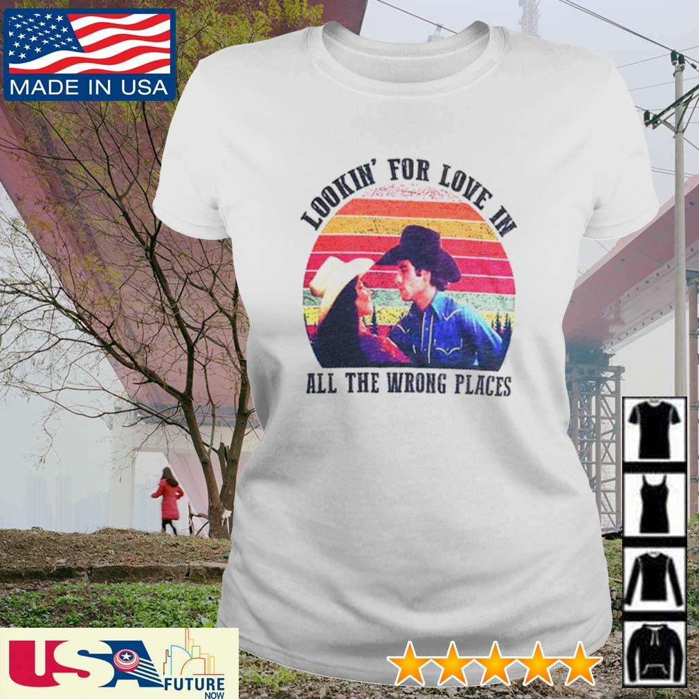 Sunset Urban Cowboy lookin' for love in all the wrong places s ladies-tee