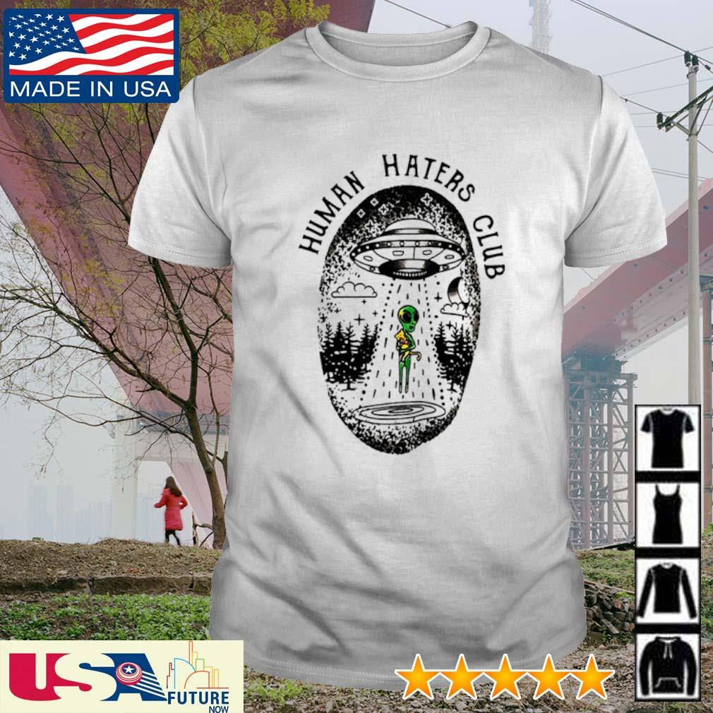 UFO Alien hug cat human haters club shirt