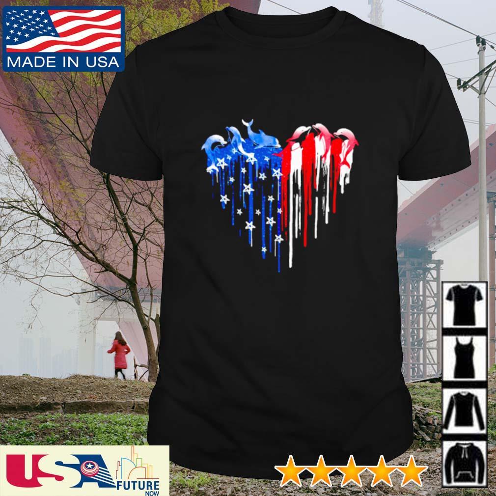 Dolphin freedom colors heart America Flag shirt